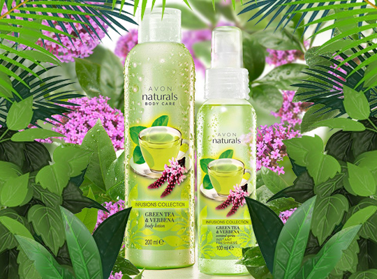 avon naturals body care infusions collection green tea verbena body lotion balsam do ciała