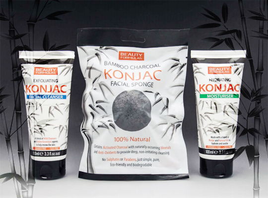 Beauty Formulas bamboo charcoal konjac facial sponge gąbka do twarzy bambus węgiel