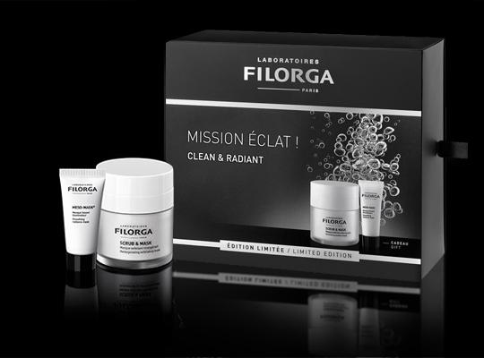 filorga laboratoires mission eclat zestaw blask scrub mask meso mask maseczka peeling rozświetlający