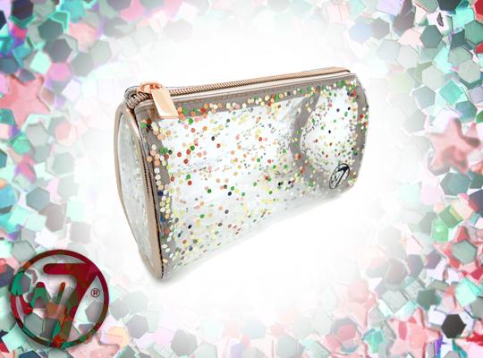 w7 cosmetics bag clear glitter kosmetyczka przezroczysta brokat
